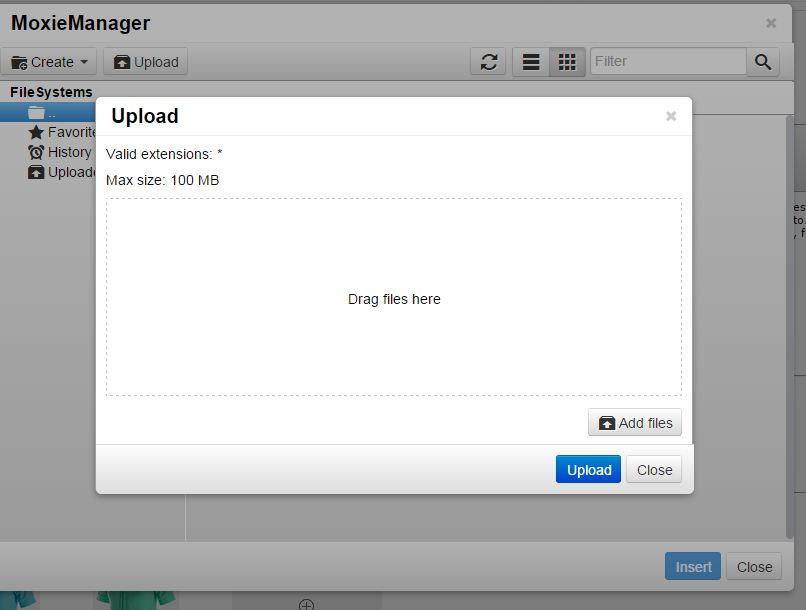 Screen of Upload from Moxie Manager